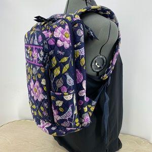 Vera Bradley Laptop Backpack Bird Leaf Floral Blue